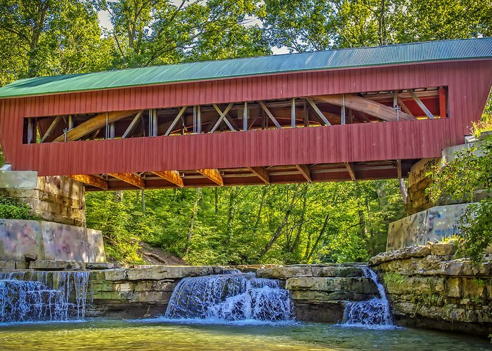 Architecture Greeting Card featuring the photograph Helmick Mill Or Island Run Covered Bridge by Jack R Perry