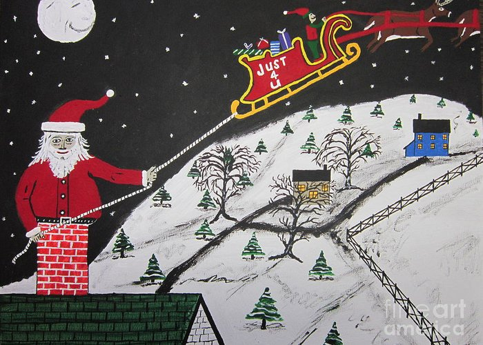 Greeting Card featuring the painting Help Santa's Stuck by Jeffrey Koss