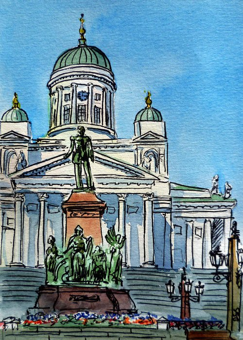 Finland Greeting Card featuring the painting Helsinki Finland by Irina Sztukowski