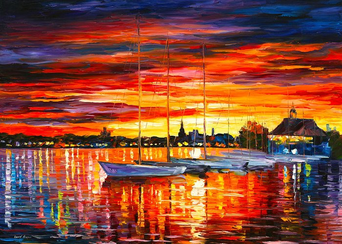 Helsinki Greeting Card featuring the painting Helsinki Sailboats At Yacht Club by Leonid Afremov