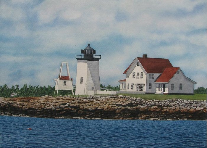 Lighthouse Greeting Card featuring the painting Hendricks Head Lighthouse by Sharon Farber
