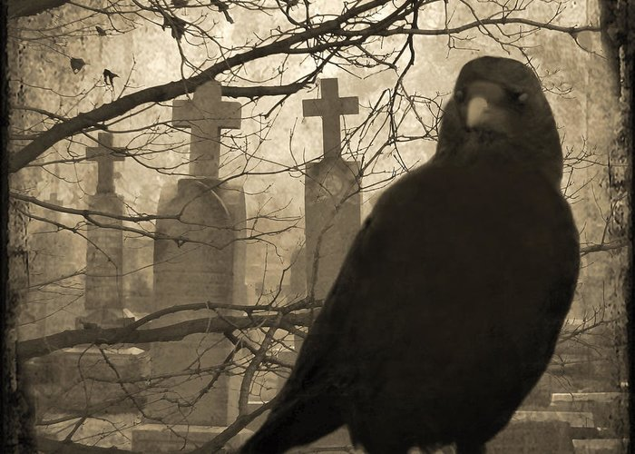 Crows In Graveyard Greeting Cards