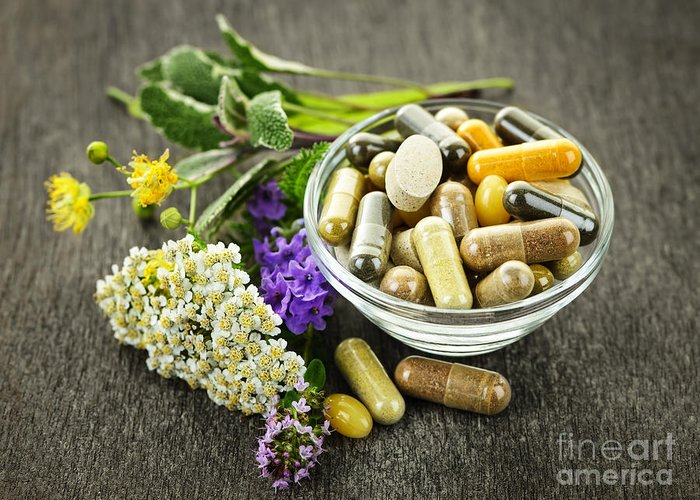 Herbs Greeting Card featuring the photograph Herbal Medicine And Herbs by Elena Elisseeva