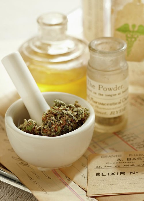 Mortar And Pestle Greeting Card featuring the photograph Herbal Medicine by Lew Robertson
