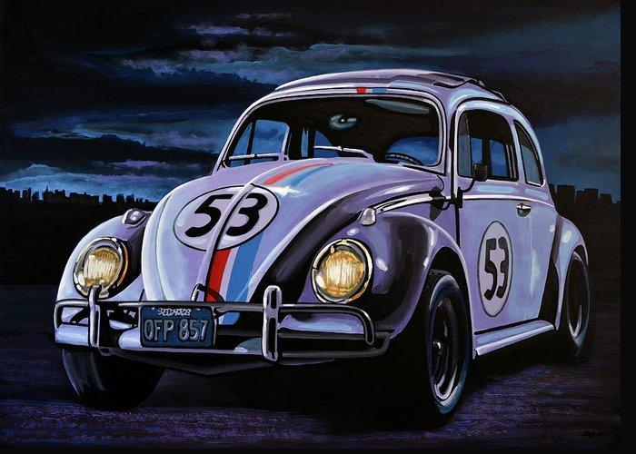 Herbie Greeting Card featuring the painting Herbie The Love Bug Painting by Paul Meijering