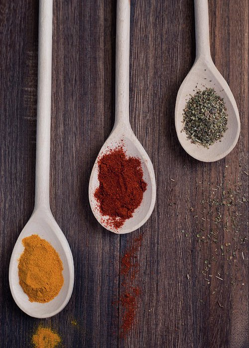 In A Row Greeting Card featuring the photograph Herbs And Spices by Photo By Asri' Rie