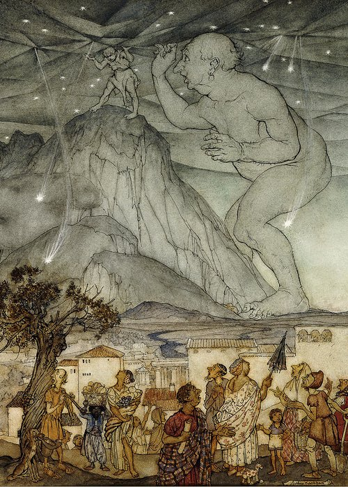 Arm Raised; Astronomical; Astronomy; Belief; British Artist; Childhood; Children; Countryside; Darkness; Early 20th Century; English Art; English Artist; European Artist; Giant; Hercules; Holding; Holding Up; Human Role; Illustrator; Ink Drawing; Looking Up; Male; Men; Mountain; Mountainous; Mountainscape; Myth; Mythical; Mythological; Mythology; Nature; Nocturnal; Outdoors; Rural; Size; Sky; Standing; Strength; Strong; Support; Supported; Supporting; Tree; Villager; Watercolor; Watercolour Greeting Card featuring the painting Hercules Supporting The Sky Instead Of Atlas by Arthur Rackham