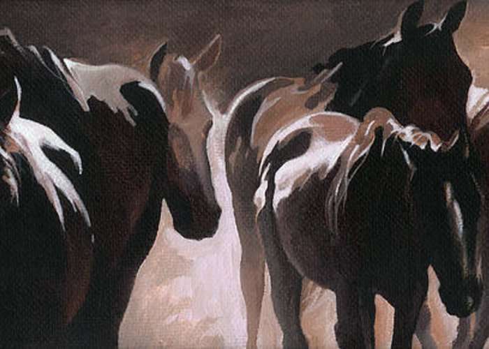 Herd Of Horses Greeting Card featuring the painting Herd Of Horses by Natasha Denger