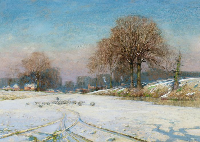 Tracks Greeting Card featuring the painting Herding Sheep In Wintertime by Frank Hind