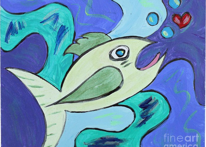 Fish Greeting Card featuring the painting Here Fishy Fishy by Satya Wimbish