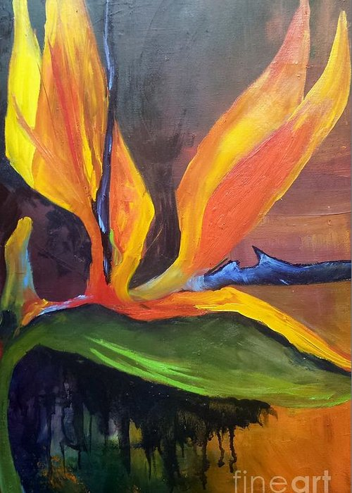 Bird Of Paradise Greeting Card featuring the painting Here I Am Bird of Paradise by Barbara Haviland