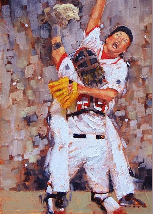 Boston Red Sox Greeting Card featuring the painting Here We Come by Laura Lee Zanghetti