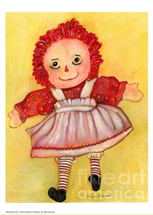 Raggedy Doll Greeting Card featuring the painting Here's My Love by Marlene Robbins
