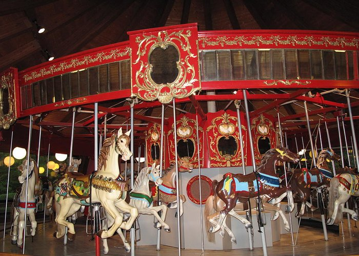 Carousel Greeting Card featuring the photograph Heritage Looff Carousel by Barbara McDevitt