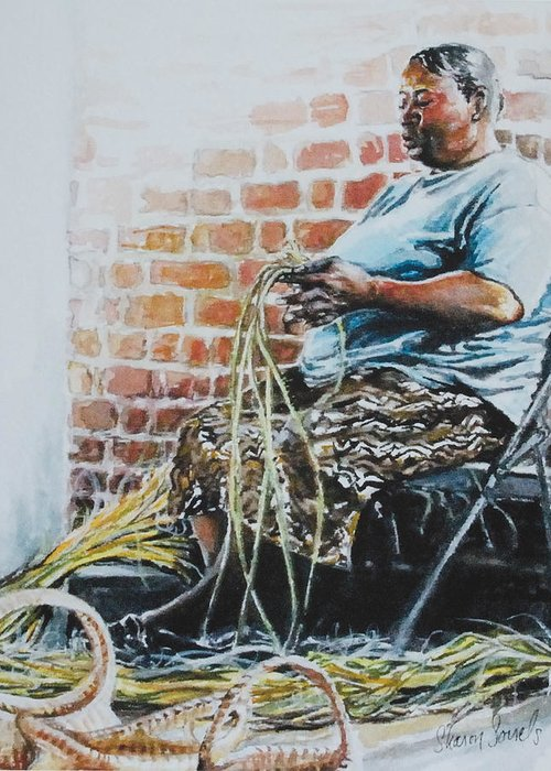 Basket Weaver Greeting Card featuring the painting Heritage by Sharon Sorrels