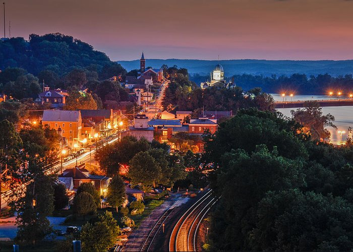 Night Greeting Card featuring the photograph Hermann Missouri - A Most Beautiful Town by Tony Carosella