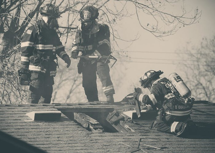 Firemen Greeting Card featuring the photograph Heroes by Laurie Search
