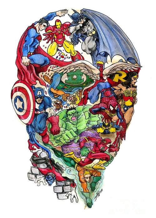 Surreal Greeting Card featuring the drawing Heroic Mind by John Ashton Golden