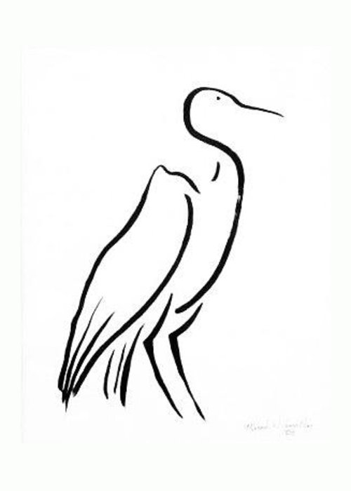 Calligraphy Greeting Card featuring the drawing Heron by Micah Guenther