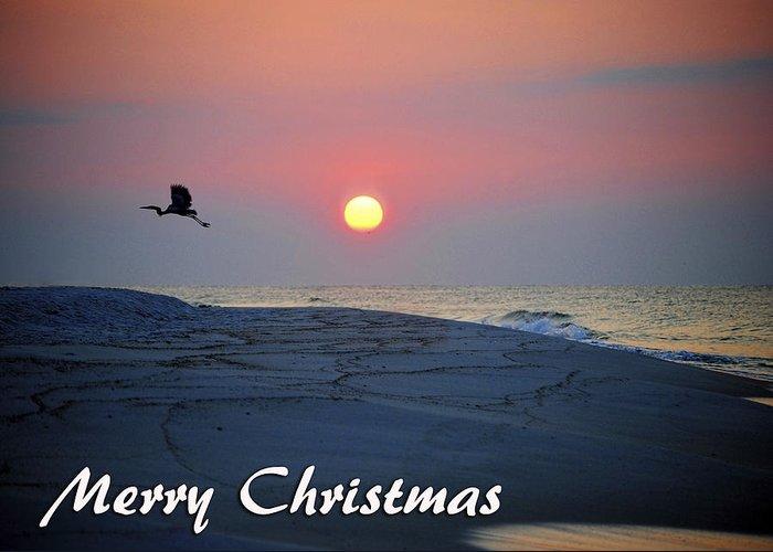Christmas Greeting Card featuring the digital art Heron Rising by Michael Thomas