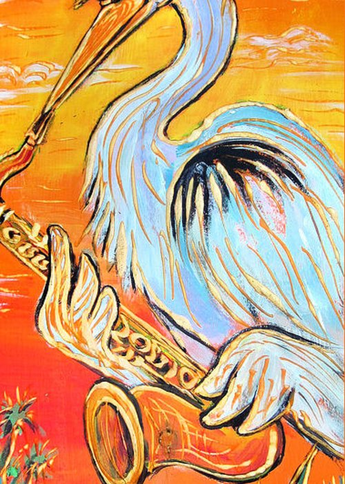 Blues Greeting Card featuring the painting Heron The Blues by Robert Ponzio