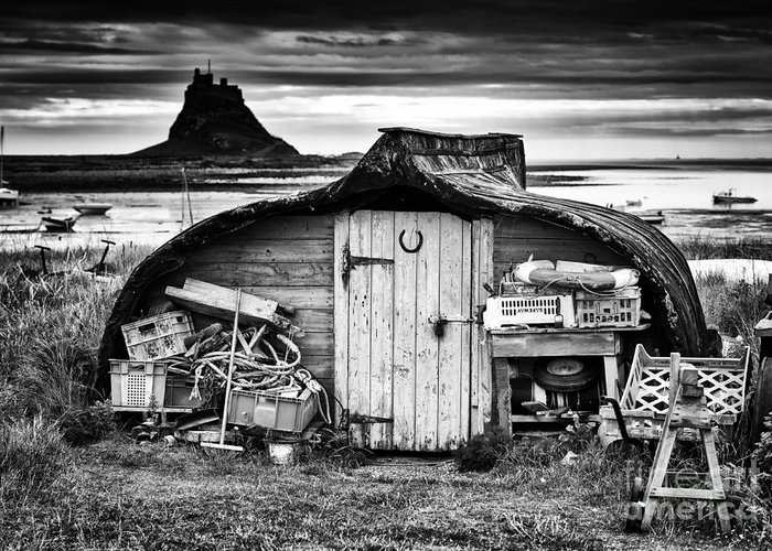Up Turned Greeting Card featuring the photograph Herring Boat Hut Lindisfarne Monochrome by Tim Gainey