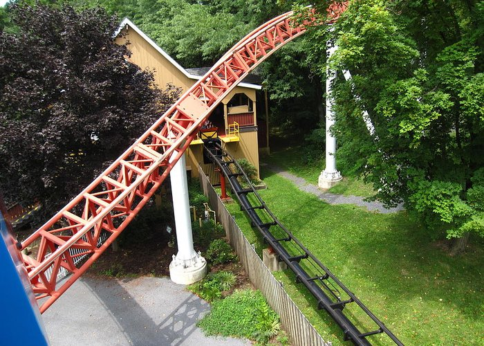 Hershey Greeting Card featuring the photograph Hershey Park - Storm Runner Roller Coaster - 12121 by DC Photographer
