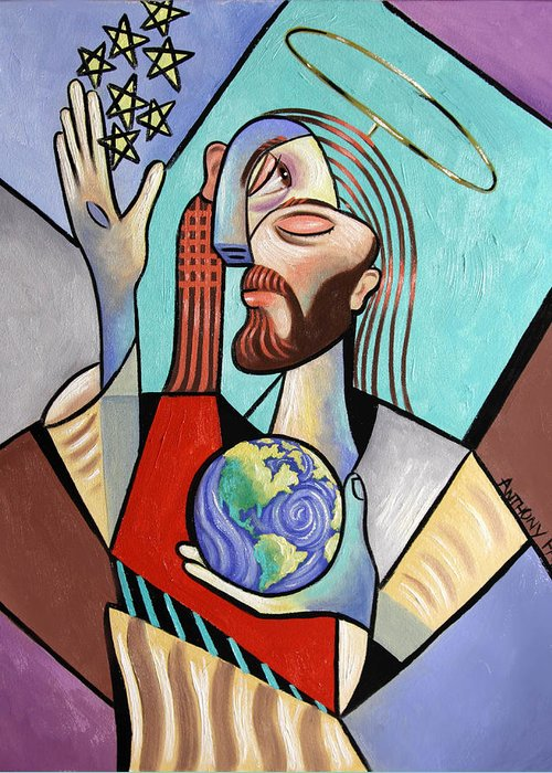 Jesus Greeting Card featuring the painting Hes Got The Whole World In His Hand by Anthony Falbo