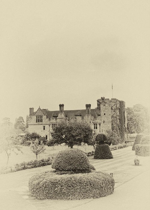 Architecture Greeting Card featuring the photograph Hever Castle Yellow Plate 2 by Chris Thaxter