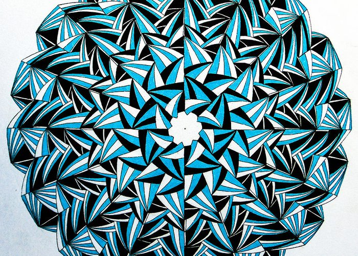#mandala #abstract #circle #blue Greeting Card featuring the drawing Hey Now by Skaiste Kodyte