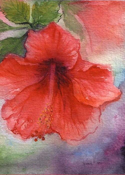 Bonnie Greeting Card featuring the painting Hibiscus by Bonnie Fernandez