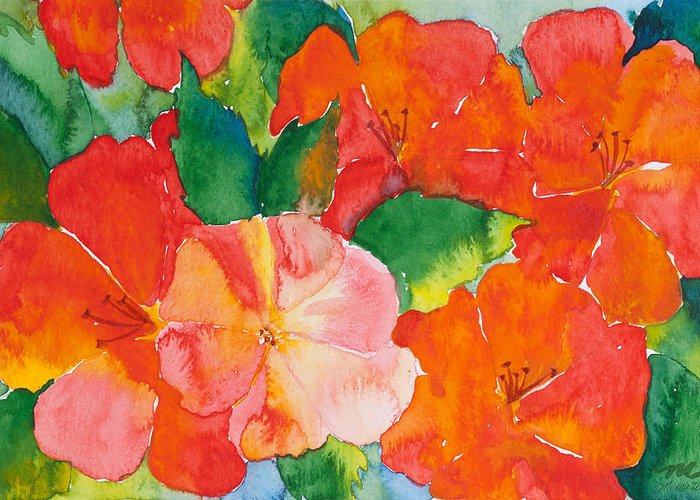 Flowers Greeting Card featuring the painting Hibiscus Flowers by Michelle Wiarda