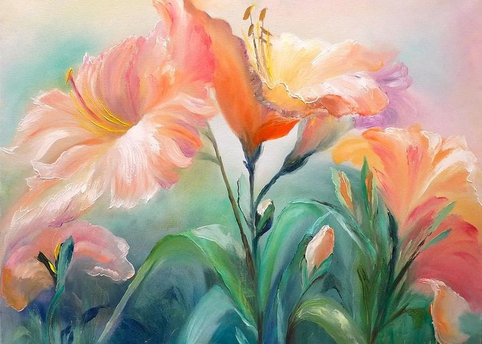 Floral Hibiscus Lilies Pastel Realism Flowers Grass Garden Tropical Abstract Greeting Card featuring the painting Hibiscus by Marina Wirtz
