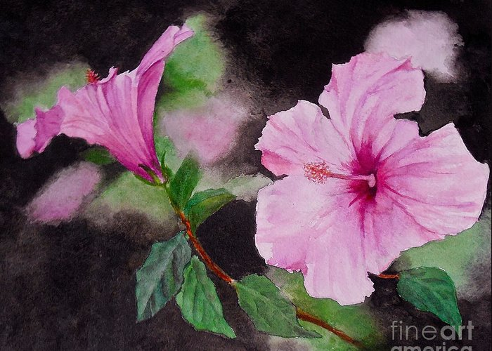 Flowers. Hibiscus Greeting Card featuring the painting Hibiscus - So Pretty In Pink by Sher Nasser