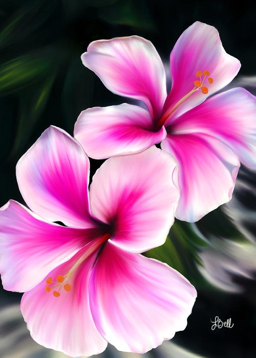 Hibiscus Greeting Card featuring the painting Hibiscuses by Laura Bell