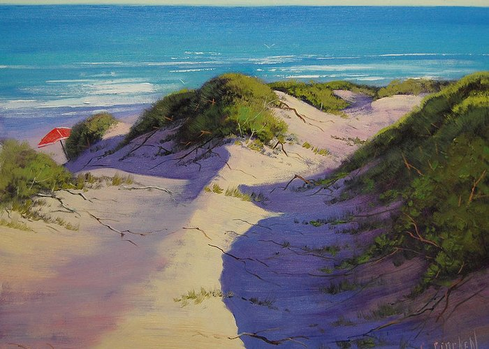 Seascape Greeting Card featuring the painting Hidden Dunes by Graham Gercken