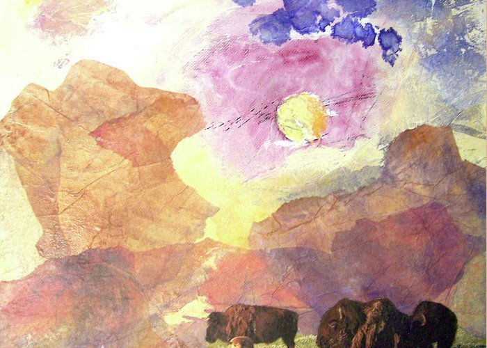 Buffalo Greeting Card featuring the mixed media Hidden Plateau by MtnWoman Silver