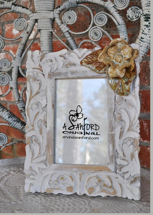 Photo Frame Greeting Card featuring the sculpture Hide And Chic by Amanda Sanford