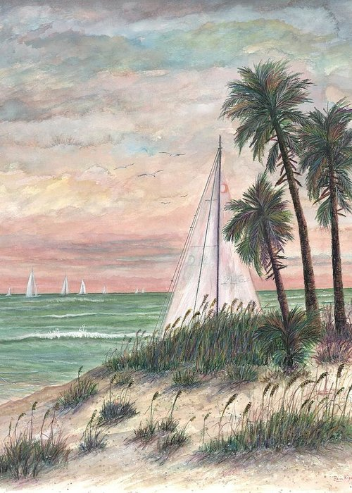 Sailboats; Palm Trees; Ocean; Beach; Sunset Greeting Card featuring the painting Hideaway by Ben Kiger