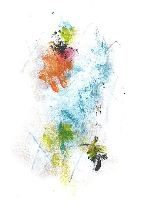 Abstract Greeting Card featuring the mixed media Higgins by Matt Lambert