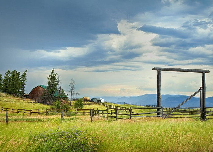 British Columbia Greeting Card featuring the photograph High Country Farm by Theresa Tahara