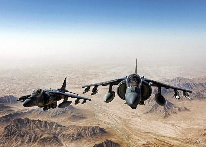 Aviation Greeting Card featuring the digital art High Desert Harriers by Peter Chilelli