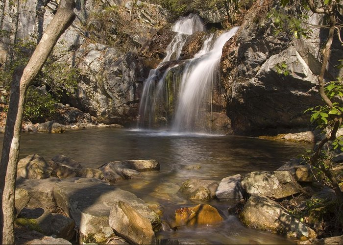 Waterfall Greeting Card featuring the photograph High Falls Talledega National Forest Alabama by Charles Beeler