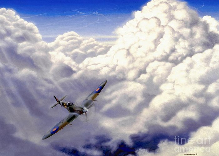 Aviation Greeting Card featuring the painting High Flight by Michael Swanson