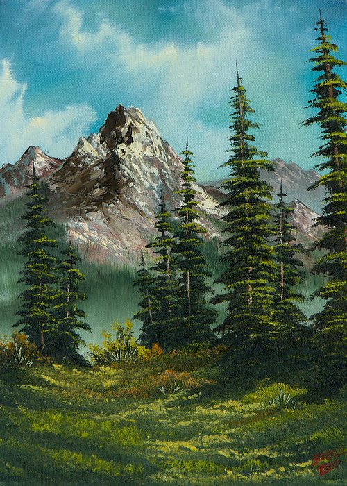 Landscape Greeting Card featuring the painting High Meadow by C Steele