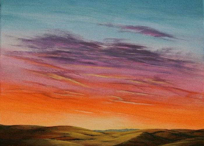 High Plains Greeting Card featuring the painting High Plains Sunset by J W Kelly