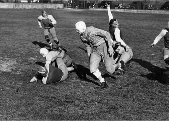 1941 Greeting Card featuring the photograph High School Football, 1941 by Granger