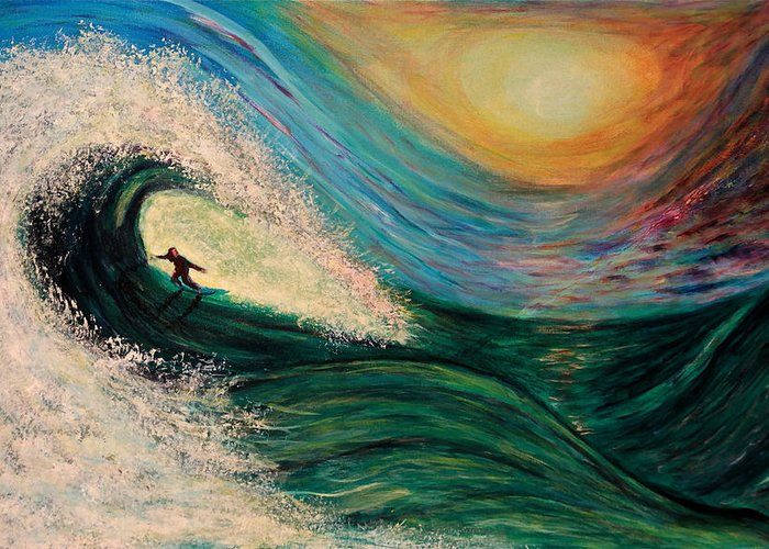 'phoenix Greeting Card featuring the painting High Surf by Phoenix The Moody Artist