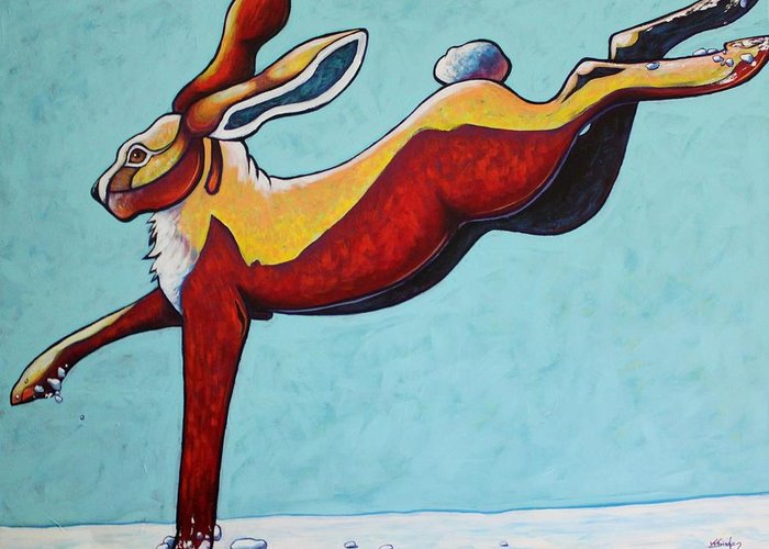 Wildlife Greeting Card featuring the painting High Tailing It - Jackrabbit by Joe Triano