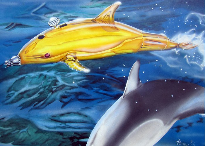 Technical Greeting Card featuring the painting High Tech Dolphins by Thomas J Herring